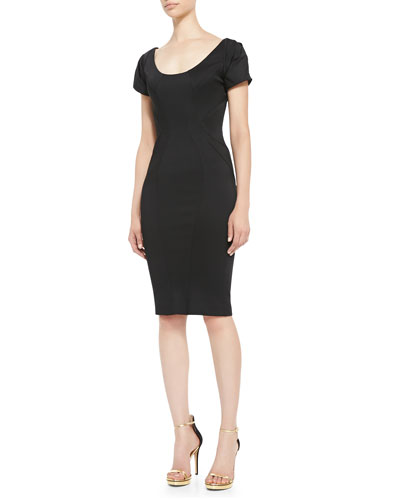 ZAC Zac Posen Short-Sleeve Scoop-Neck Cocktail Sheath Dress
