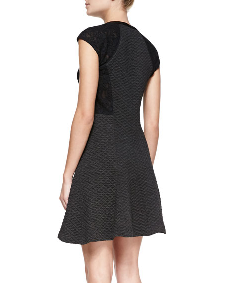 Textured Knit Lace-Sleeve Dress