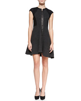 Rebecca Taylor Textured Knit Lace-Sleeve Dress