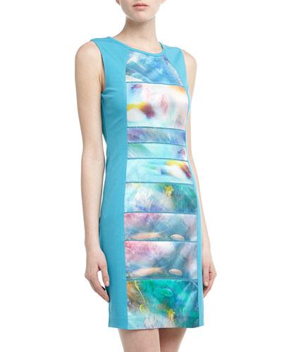 Cluny Sleeveless Caribbean Sunrise Print Scuba Dress, Turquoise