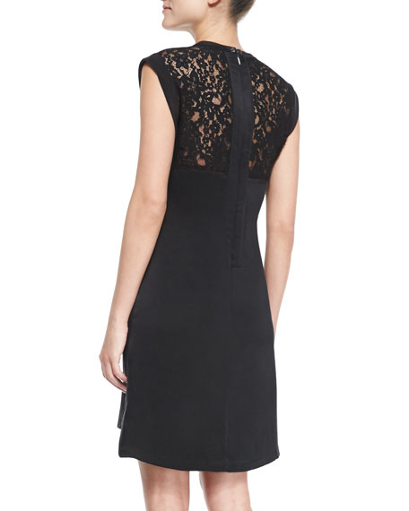 Lace-Top Crepe Dress