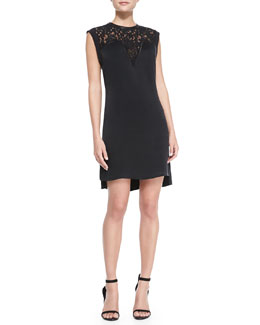 Rebecca Taylor Lace-Top Crepe Dress