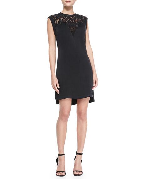 Lace-Top Crepe Dress