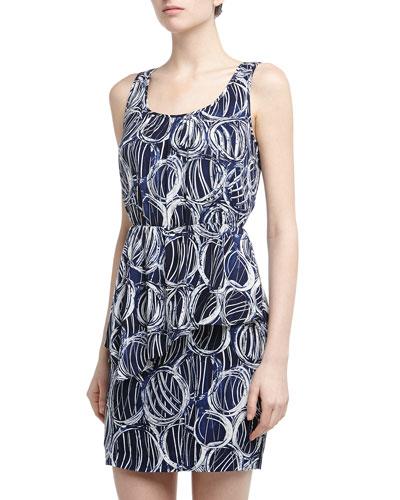 Cluny Asymmetric Peplum Bubble Pattern Dress, Navy/White