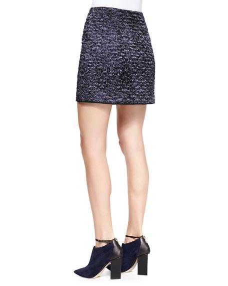 White Noise Front-Zip Skirt
