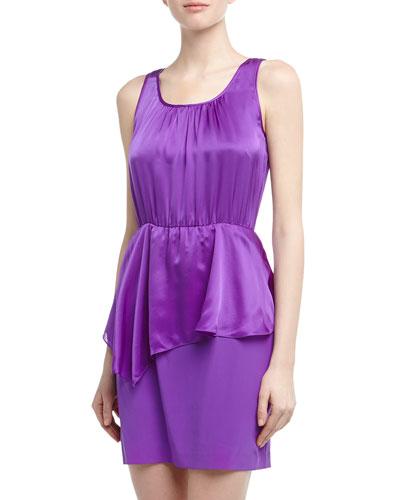 Cluny Asymmetric Peplum Silk Charmeuse Dress, Orchid
