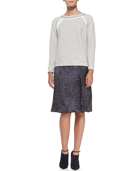 White Noise Silk Asymmetric Skirt