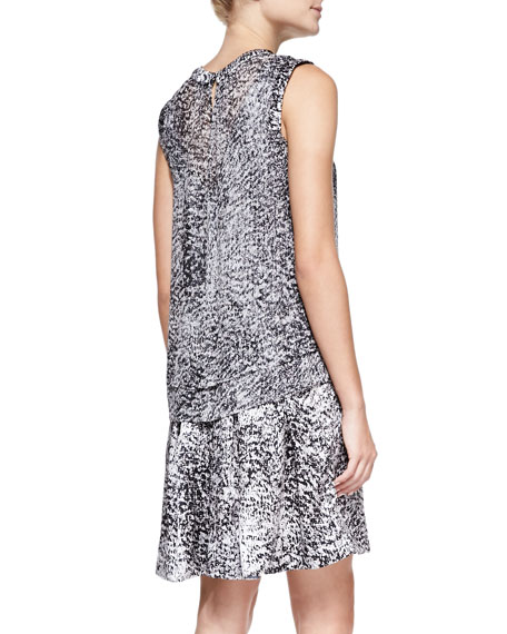 White Noise Printed Layered Silk Dress