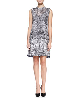 Rebecca Taylor White Noise Printed Layered Silk Dress