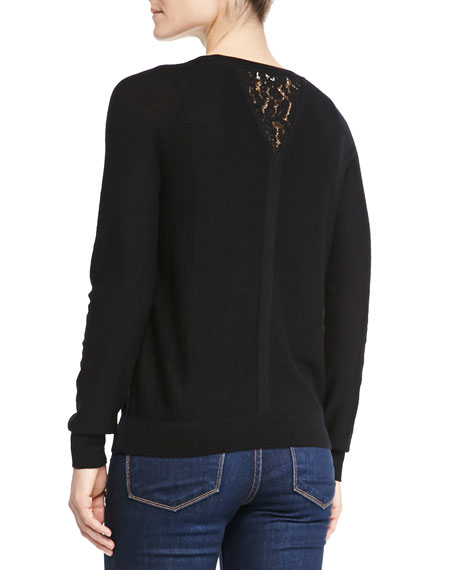 Wool Knit Pullover w/Lace Inset