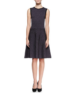 Rebecca Taylor Solid-Trim Animal-Print Dress