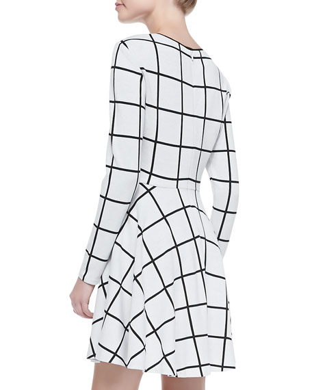 Long-Sleeve Windowpane-Print Dress