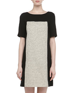 4.collective Short-Sleeve Colorblocked Tweed Dress, Ivory