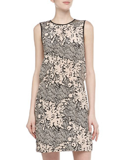 4.collective Floral Scribble Print Silk Dress, Black/Blush