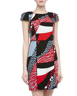 4.collective Cap-Sleeve Geometric Cheetah Print Dress
