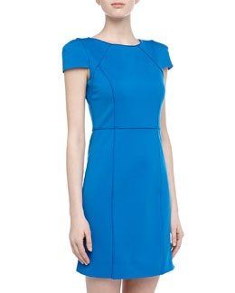 4.collective Cap-Sleeve Ponte Pipe Trim Dress