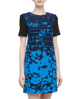4.collective Short-Sleeve Striped & Floral Print Dress, Azure