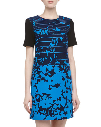 4.collective Short-Sleeve Striped & Floral Print Dress, Azure