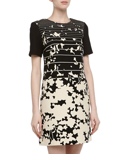 4.collective Short-Sleeve Striped & Floral Print Dress, Ivory