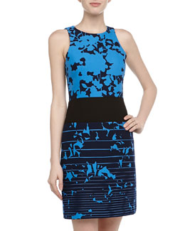 4.collective Sleeveless Floral & Stripe Print Dress, Azure