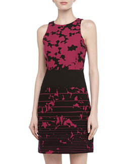 4.collective Sleeveless Floral & Stripe Print Dress, Plum
