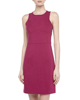 4.collective Sleeveless Seam Detailed Ponte Dress, Plum