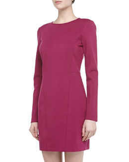 4.collective Long-Sleeve Seam Detailed Ponte Dress, Plum