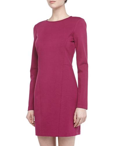 4.collective Long-Sleeve Seam Detailed Ponte Dress, Plum
