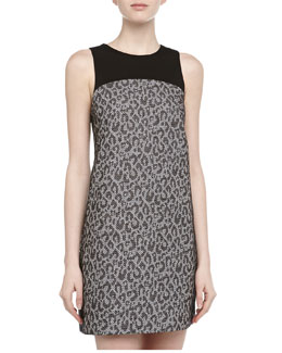4.collective Leopard-Print Jacquard Mini Dress, Black/White