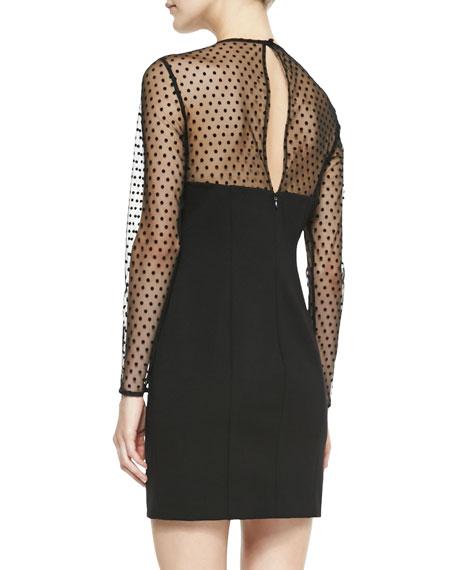 Long-Sleeve Swiss Dot Body Conscious Dress