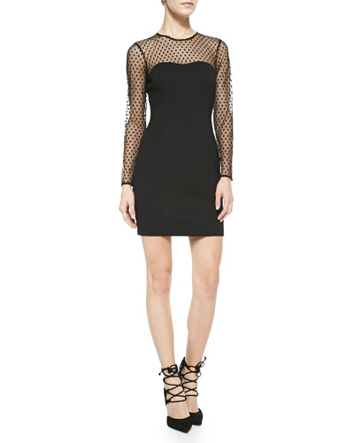 Ali Ro Long-Sleeve Swiss Dot Body Conscious Dress