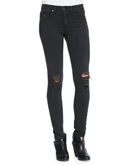 rag & bone/JEAN The Skinny Distressed Denim Jeans, Soft Rock W/Holes