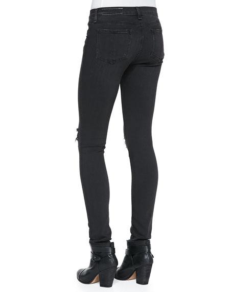 The Skinny Distressed Denim Jeans, Soft Rock W/Holes