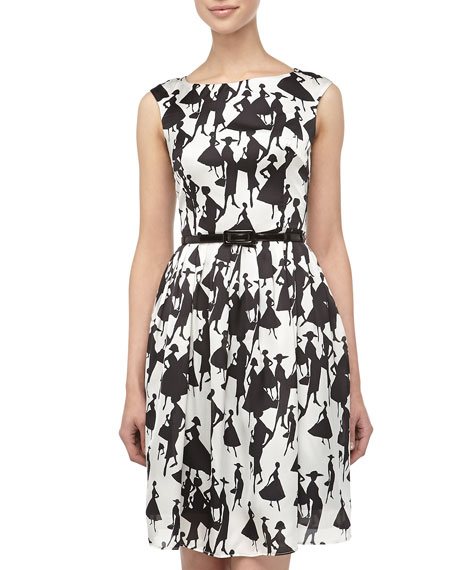 Lady-Print Fit-And-Flare Dress, Black/White