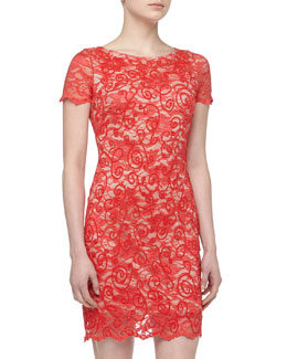 Alexia Admor Filigree Beaded Sequined Lace Cocktail Dress, Coral