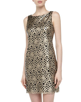 Alexia Admor Floral Laser-cut Faux Leather Dress, Champagne