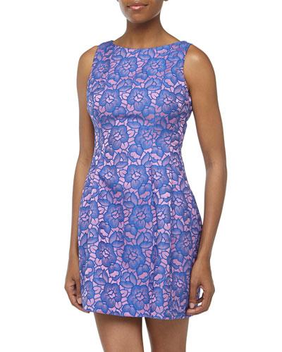 Alexia Admor Two-Tone Floral Jacquard Dress, Purple/Pink