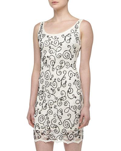 Alexia Admor Filigree Beaded Lace Cocktail Dress, Ivory