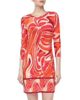 Ali Ro Three-Quarter Paintbrush-Print Stretch-Knit Dress, Bright Coral Multi