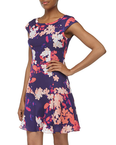 Ali Ro Cap-Sleeve Floral-Print Fit-And-Flare Chiffon Dress, Dark Violet