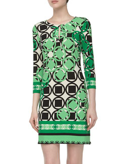 Ali Ro Three-Quarter Geometric-Print Stretch-Knit Dress, Spring Green