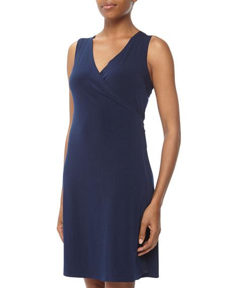 Sleeveless Stretch Jersey Wrap Dress, Navy