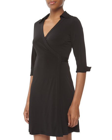 Milo Jersey Wrap Dress, Black