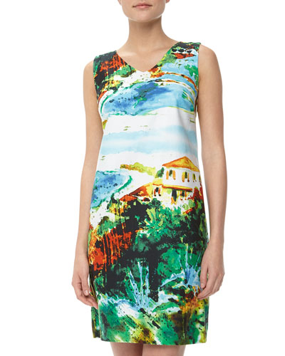 Chetta B City Print Sateen Day Dress, Aqua/Green