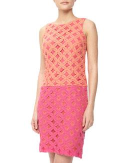 Chetta B Colorblock Floral Lace Drop Waist Dress, Melon/Hot Pink