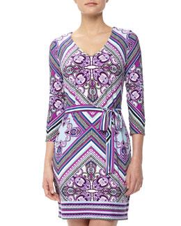 Ali Ro Tapesty-Print Stretch Jersey Dress, Petunia