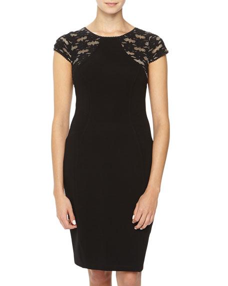 Cap-Sleeve Lace Stretch-Knit Dress, Black