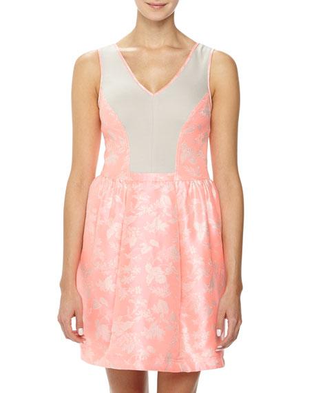Yoana Baraschi Blue Jacquard/Ponte Fit-and-Flare Dress, Pink/Beige
