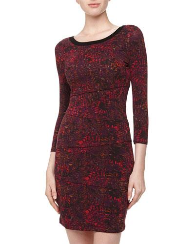 Cluny Asymmetric Tiered Floral Print Dress, Purple Navy