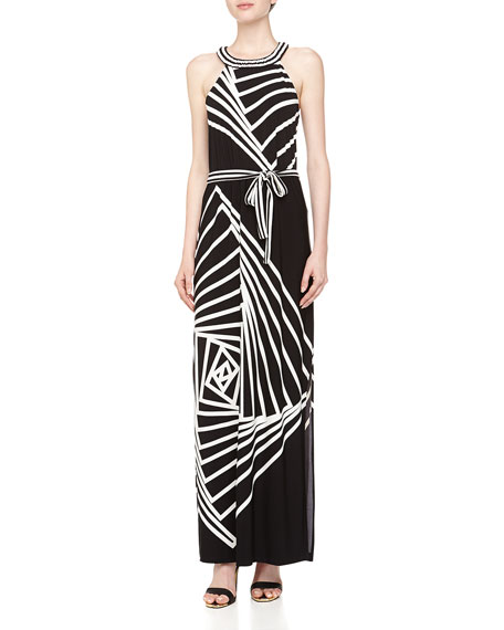 Origami Rose Print Maxi Dress, Black/Comb